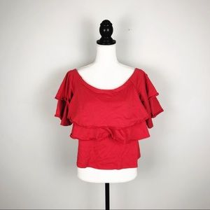 Banana Republic Red Off The Shoulder Ruffle Top